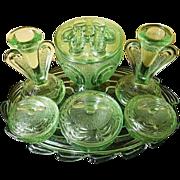 SCARCE Bagley glass Flower Set Rutland pattern Trinket set / Vanity Set