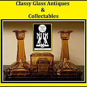 Uncommon Art Deco Glass Trinket Set / Vanity Set by Bagley, England.