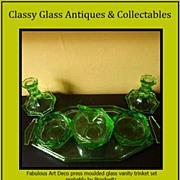 Czechoslovakian Produced * Brockwitz, Germany, Pattern * Art Deco Uranium Glass Trinket Table Set.