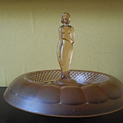 Beautiful Satin Frosted Pink Glass Lady Center Piece by Sowerby, England. c1930's Art Deco