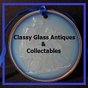 Striking Sabino Opalescent Glass Woman Angel & Lyre Medallion. MINT