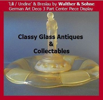 Amazing Amber Glass Center Piece Lilli / Undine & Breslau by Walther & Sohhne,Germany.