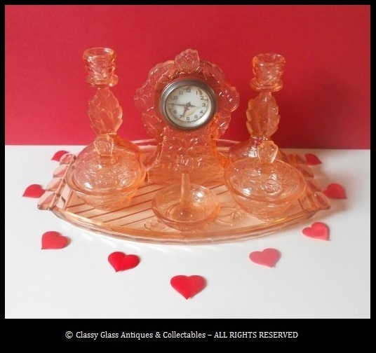 Walther & Sohne 'Waltraut' Pink Glass Clock 8 Piece German Art Deco Trinket Set / Vanity Set