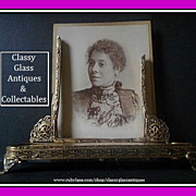 Rare Ormolu & Embroidery Photo Picture Frame with Original Glass
