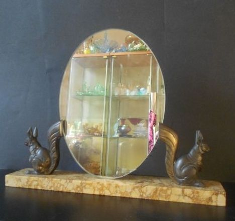 Superb French Art Deco Mirror with Marble and Bronze Squirrels
