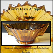 Big & Beautiful  Brockwitz Amber Glass Art Deco Bowl With Wing Handles