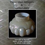 Superb Kralik Mother of Pearl Art Nouveau Iridescent Opal Glass Vase.