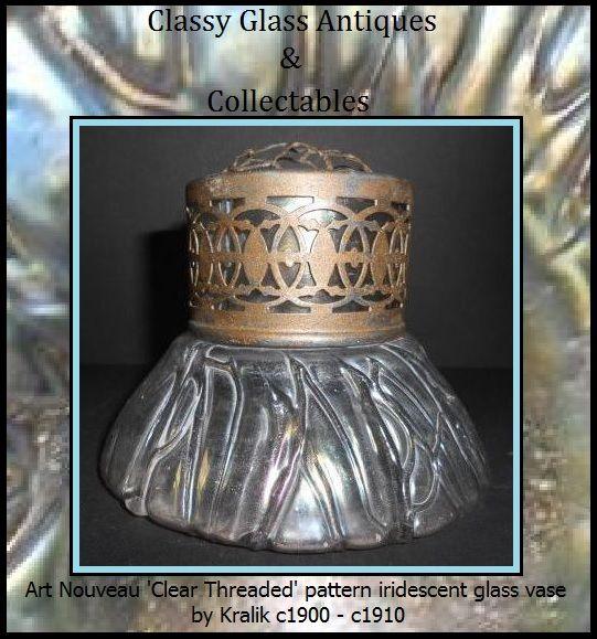 Clear Threaded Pattern Art Nouveau Iridescent Glass Vase by Kralik, Austria.