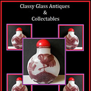 Cameo Carved Liu Li Peking Glass Snuff Bottle in Amethyst over White Opal - Qing Dynasty Original