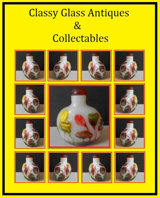 FIVE Colour Overlay Liu Li Peking Glass Snuff Bottle with Lotus Flowers upon Opaque White. Qing Dynasty Original,.