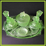 Phenomenal German Art Deco Uranium Depression Glass Vanity Set / Trinket Set - By Walther & Sohne.