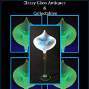 Museum Quality Opalescent Uranium Glass Jack in The Pulpit Vase by Thomas Webb, England circa 1880-1910