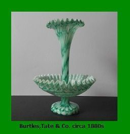Important & Recorded Antique English Victorian Free-Blown 2 Piece Glass Epergne by  Burtles,Tate & Co. Circa 1880s.