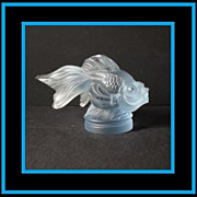 HUGE Sabino Pastel Blue Crystal Glass Queue de Voile – 'Sailing Tail' fish Car Mascot / Paperweight Figurine.