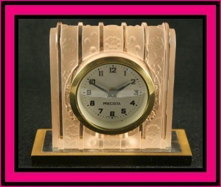 Beautiful Bohemian Art Deco Pink Glass Clock by Heinrich Hoffman. Fully Working.