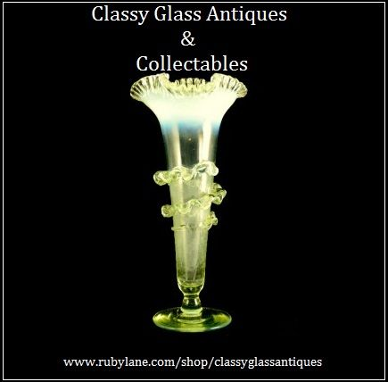 English Victorian Uranium & Opal Glass Vase With Frilled Glass Applique