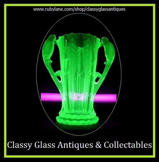 1930s German Art Deco Uranium Glass Vase by Brockwitz.