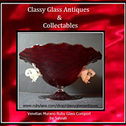 HUGE Free - Blown Venetian Quilted Ruby Glass Center Piece Bowl Display with Dolphins by Salviati  Murano Italy