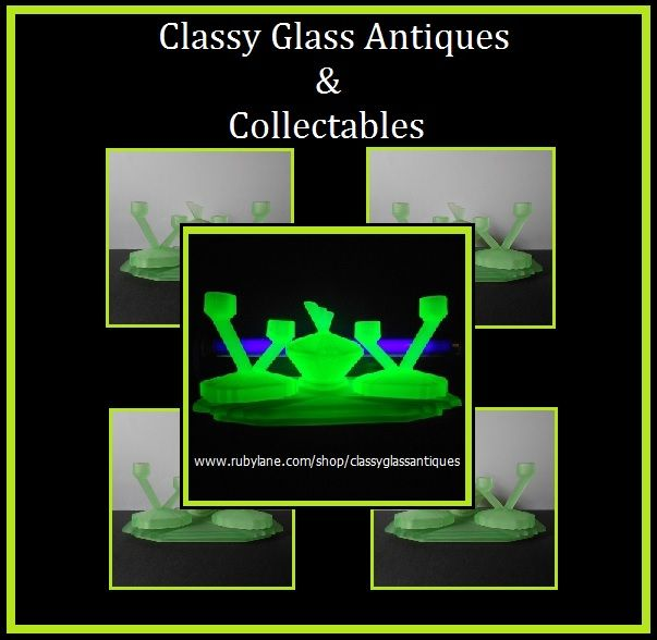 Incredible English Art Deco Uranium Glass Trinket Vanity Set by Bagley