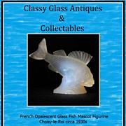 French Opalescent Glass Perch Fish Mascot Figurine. Choisy-le-Roi circa 1930s
