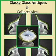 English Victorian Opalescent & Green Glass Vase c1880 - c1910