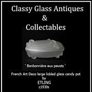 French Art Deco lidded Glass Powder Pot by Etling c1930s