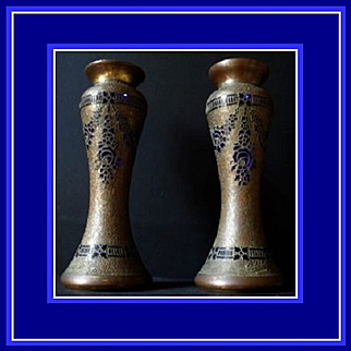 SALE PAIR of Exceptionally Rare Bronze & Gilded Cobalt Glass Vases by Leon Ledru. Val St Lambert. Signed.  MASSIVE Sale Price REDUCTION