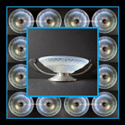 Gorgeous French  Art Deco Choisy-le-Roi Opalescent Glass Comport with Chrome & Rosewood Mounts.