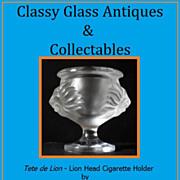 Lalique Lion Head Crystal Glass Cigarette Holder - Tete de Lion