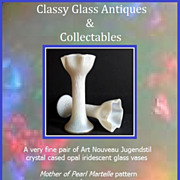 PAIR of Antique Mother of Pearl Martelle Jugendstil Art Nouveau Cased Opal Iridescent Glass Vases by Kralik. Mint Condition