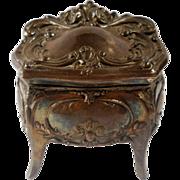 Jennings Art Nouveau Jewelry Casket Trinket Box French Gray