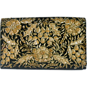 Zardozi Bullion Embroidered Evening Bag Purse Floral Vintage India