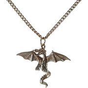 Vintage Pewter Dragon Pendant Necklace Figural 1980s