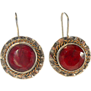 Vintage Gilt Sterling Opaque Ruby Earrings 8 carats