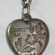 "Sterling Silver Puffy Heart Charm ""Forget Me Not"" Engraved 'H.G.M.'"