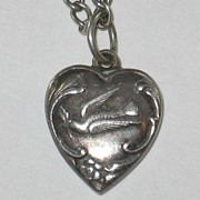 Fab Engraving ~ Sterling Silver Puffy Heart Charm ~ Dove and Olive Twig ~ Engraved 'Glen'
