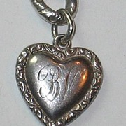 Smaller Double-sided Sterling Silver Puffy Heart Charm ~ Repousse Border ~ Engraved 'BV'