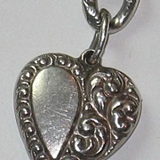 Sterling Silver Repousse Puffy Heart Charm ~ Gorgeously Engraved 'PH'