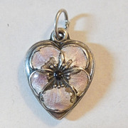 Sterling Silver Puffy Heart Charm - Pale Lavender Enamel Pansy Flower