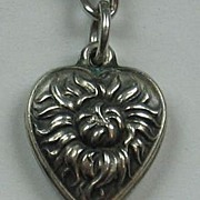 Sterling Silver Puffy Heart Charm ~ Repousse Chrysanthemum Flower