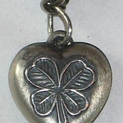 Sterling Silver Puffy Heart Charm Shamrock