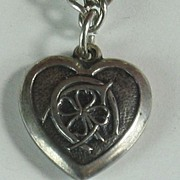 Sterling Silver Puffy Heart Charm ~ Good Luck Symbols ~ Engraved 'Tommye'