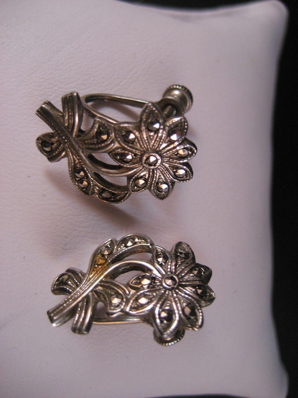 Vintage Sterling Silver Marcasite Screwback Earrings