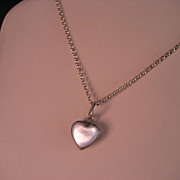 Vintage Sterling Silver Mother of Pearl Reversible Heart Pendant and Chain