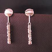Sterling Silver Absract Designer Vintage Dangle Earrings