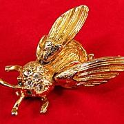 Bee Fly Trembler Pave Rhinestone Brooch