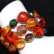Bold and Bright Orange Glass Beaded Wrap Bracelet