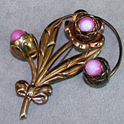 Old Copper Flower Brooch with large Pink Cabochon Centers
