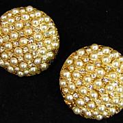 Har Simulated Pearl and Clear Rhinestone Earrings