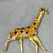 Coro Giraffe Figural Rhinestone Brooch
